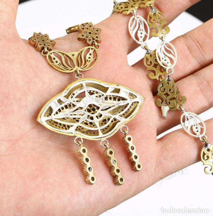 Joyeria: Esmeraldas y topacios. Collar en plata sólida contrastada 925 y bronce. - Foto 3 - 132822502