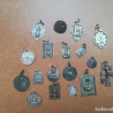 Joyeria: LOTE DE 18 COLGANTES ANTIGUOS DE VIRGENES Y SANTOS.TODAS DE PLATA DE LEY. Lote 133033730