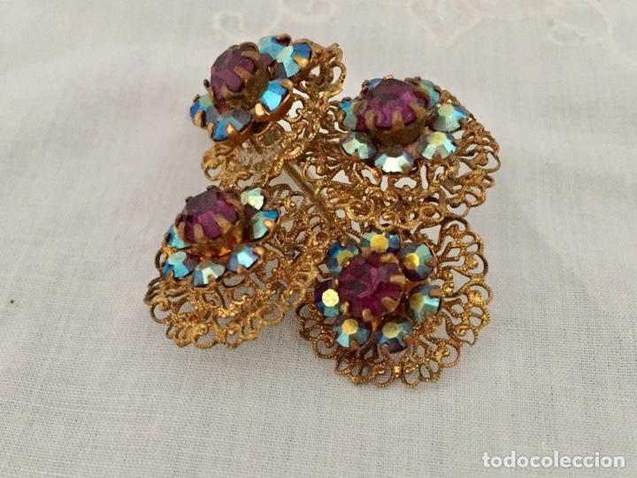 Joyeria: Broche filigrana de laton y cristales años 40 - Foto 3 - 133242110