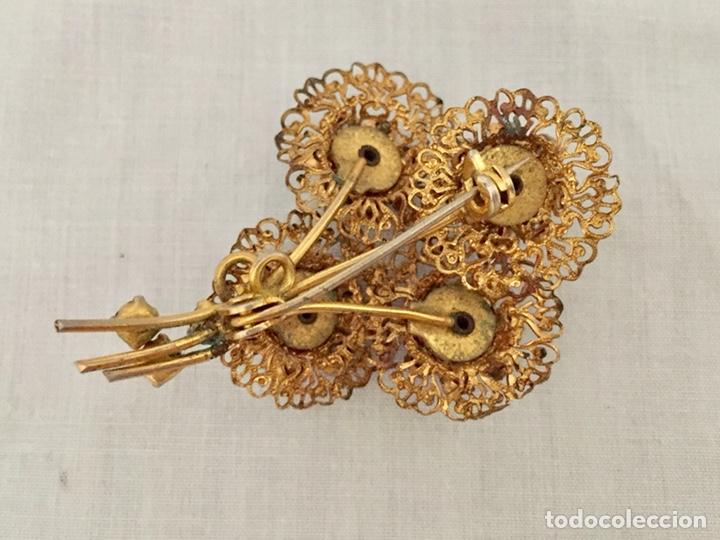 Joyeria: Broche filigrana de laton y cristales años 40 - Foto 4 - 133242110
