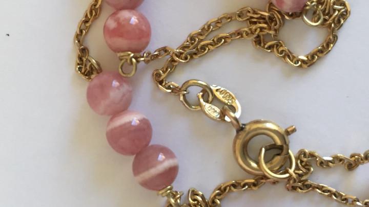 Joyeria: collar de oro de 18Kt y Rodocrositas. - Foto 3 - 100423535