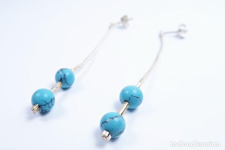 Joyeria: Pendientes largos en plata 925 con turquesas azul - Foto 2 - 133605970