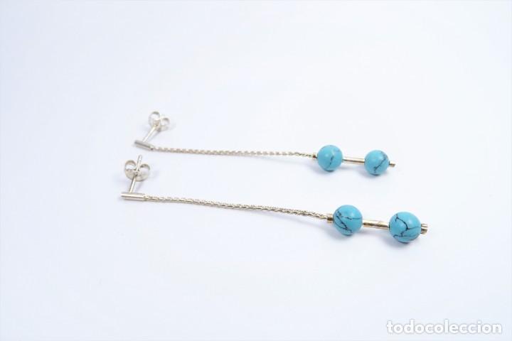 Joyeria: Pendientes largos en plata 925 con turquesas azul - Foto 3 - 133605970