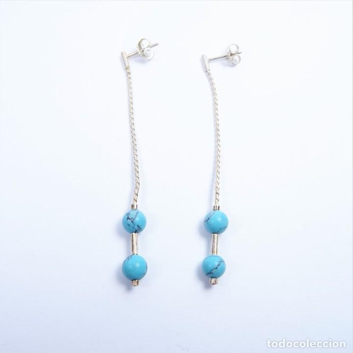 Joyeria: Pendientes largos en plata 925 con turquesas azul - Foto 4 - 133605970