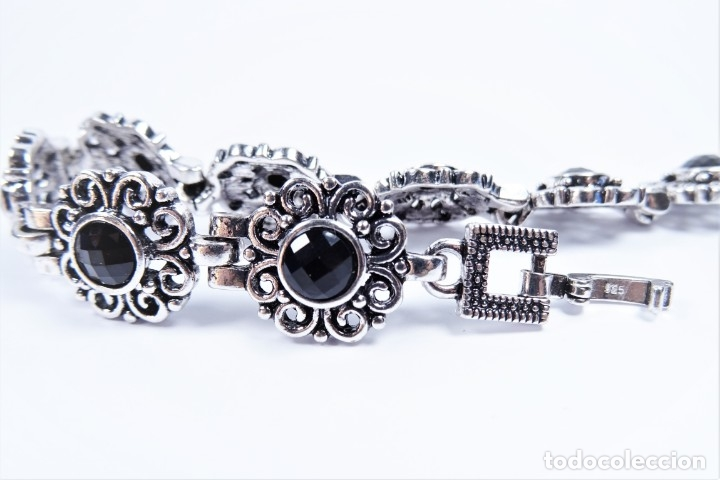 Joyeria: Pulsera en plata 925 antigua con onix tallados y marcasitas - Foto 3 - 133856289