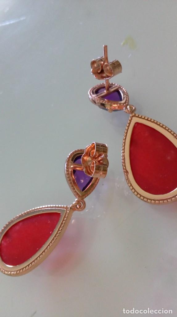 Joyeria: Preciosos pendientes de plata sobredorada con piedras en dos colores - Foto 6 - 184220723