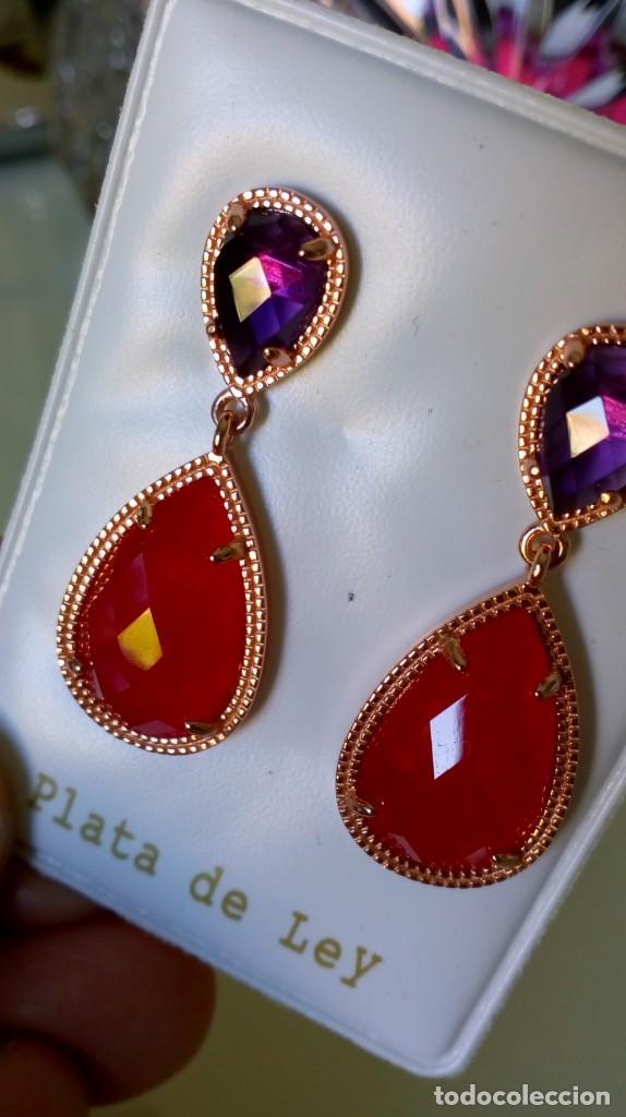 Joyeria: Preciosos pendientes de plata sobredorada con piedras en dos colores - Foto 3 - 184220723