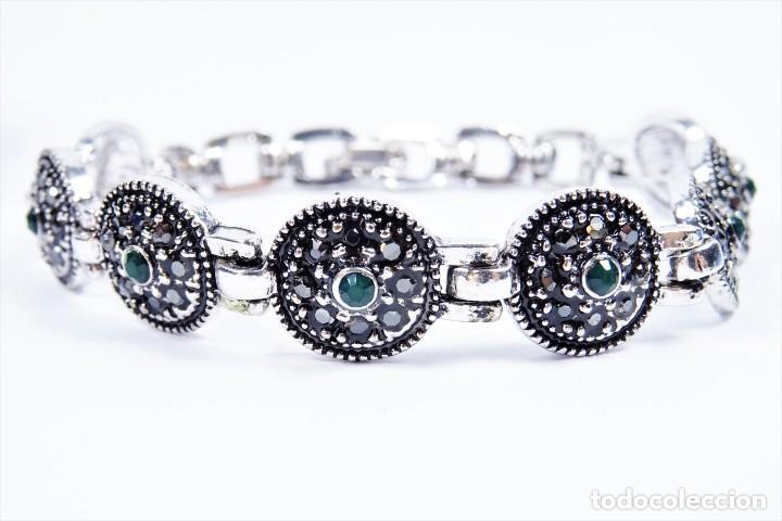 Joyeria: Pulsera en plata 925 antigua con esmeraldas y marcasitas - Foto 2 - 134139302