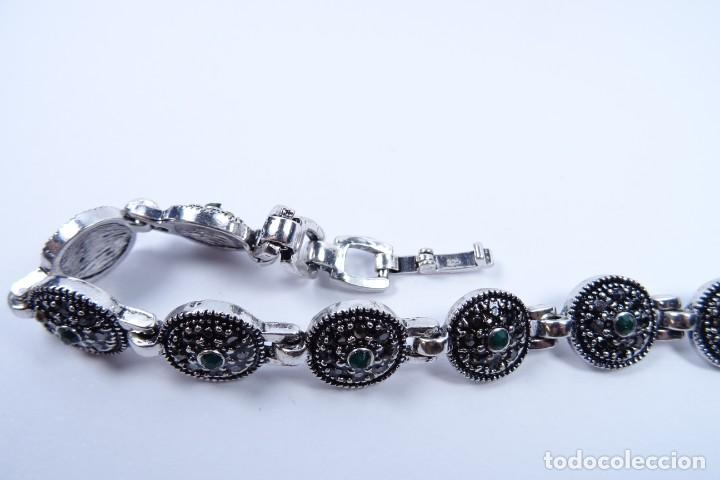 Joyeria: Pulsera en plata 925 antigua con esmeraldas y marcasitas - Foto 3 - 134139302