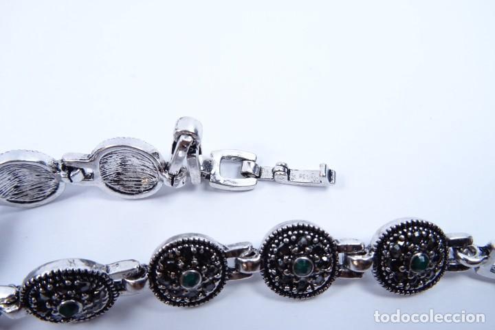 Joyeria: Pulsera en plata 925 antigua con esmeraldas y marcasitas - Foto 4 - 134139302