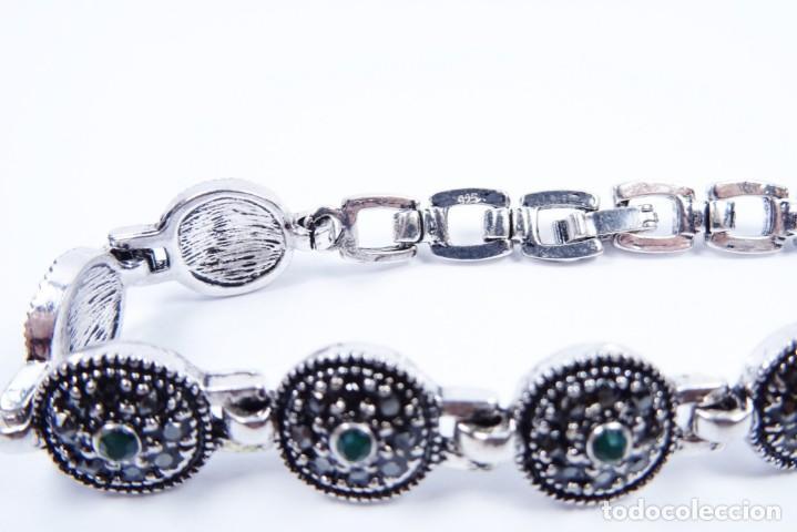 Joyeria: Pulsera en plata 925 antigua con esmeraldas y marcasitas - Foto 5 - 134139302