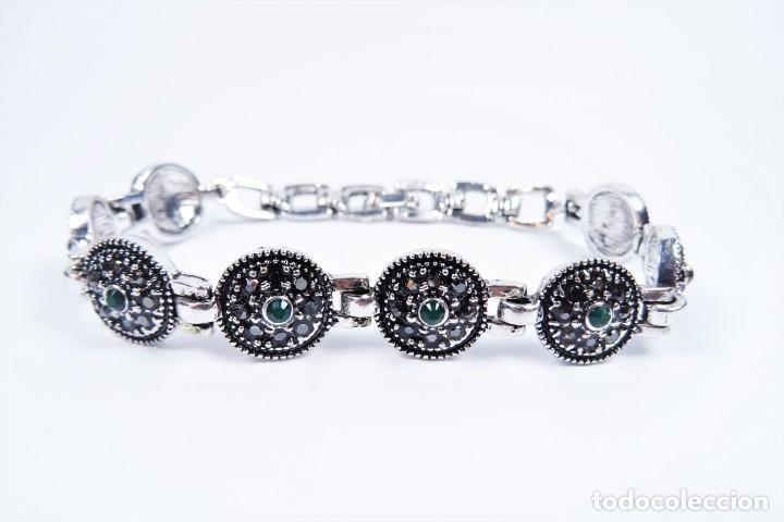 Joyeria: Pulsera en plata 925 antigua con esmeraldas y marcasitas - Foto 6 - 134139302
