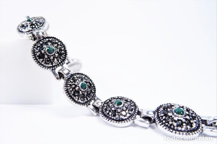 Joyeria: Pulsera en plata 925 antigua con esmeraldas y marcasitas - Foto 7 - 134139302