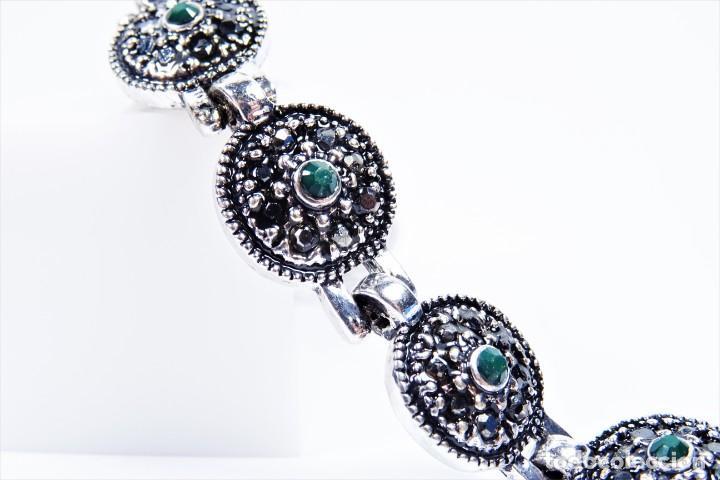 Joyeria: Pulsera en plata 925 antigua con esmeraldas y marcasitas - Foto 8 - 134139302