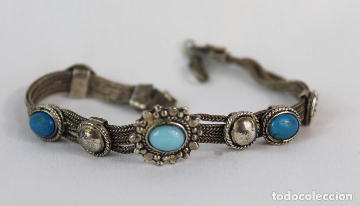 Joyeria: Pulsera mediados s XX plata 925 y engarces de turquesa - Foto 2 - 134227578