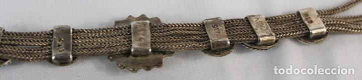Joyeria: Pulsera mediados s XX plata 925 y engarces de turquesa - Foto 6 - 134227578