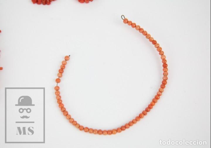 Joyeria: Antiguo Conjunto de Gargantilla, Pulsera y Pendientes - Coral Rojo Natural - Primera Mitad S. XX - Foto 4 - 134284066