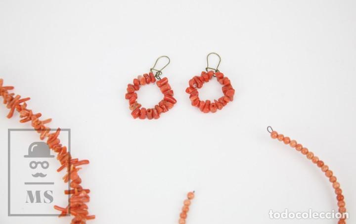 Joyeria: Antiguo Conjunto de Gargantilla, Pulsera y Pendientes - Coral Rojo Natural - Primera Mitad S. XX - Foto 10 - 134284066