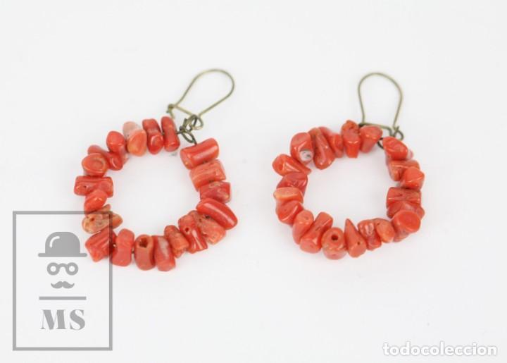 Joyeria: Antiguo Conjunto de Gargantilla, Pulsera y Pendientes - Coral Rojo Natural - Primera Mitad S. XX - Foto 11 - 134284066