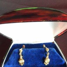 Joyeria - Preciosos pendientes plaque Oro y circones - 140016889