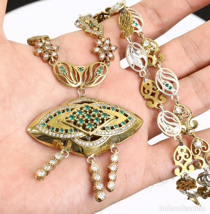 Joyeria: Esmeraldas y topacios. Collar en plata sólida contrastada 925 y bronce. - Foto 2 - 132822502