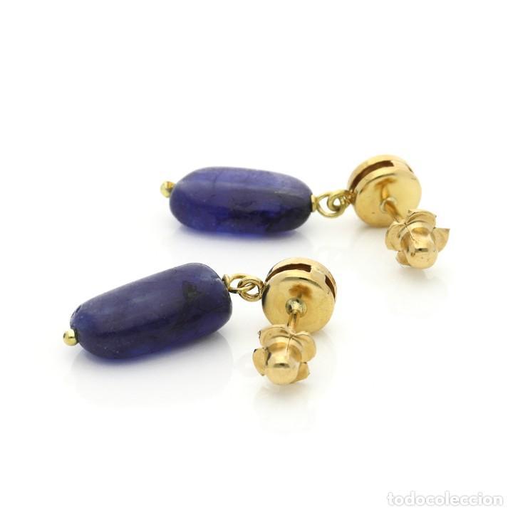 Joyeria: Pendientes de Oro 18k con Zafiros natural y circonitas brillantes - Foto 2 - 135395738