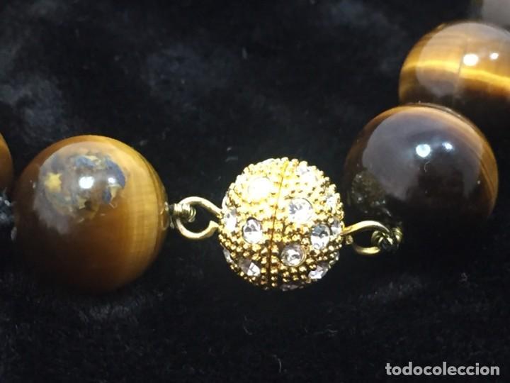 Joyeria: Collar de esferas de ojo de tigre nudos cierre roscado calidad buen estado 45 cms. abierto - Foto 3 - 136093262