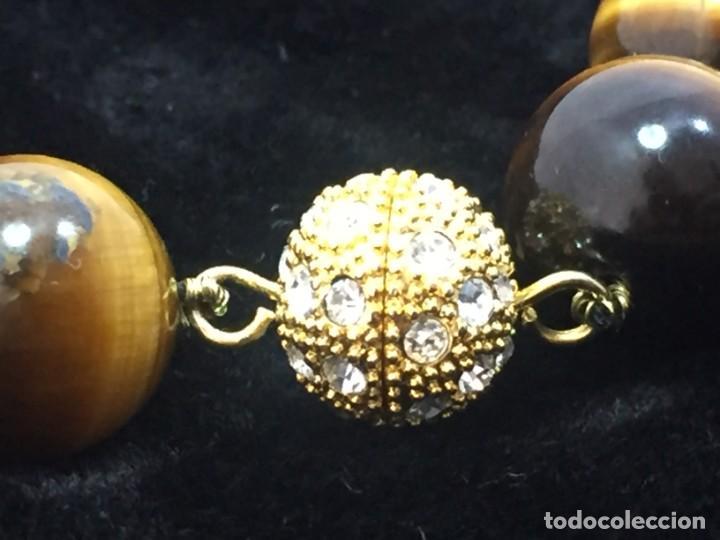 Joyeria: Collar de esferas de ojo de tigre nudos cierre roscado calidad buen estado 45 cms. abierto - Foto 4 - 136093262