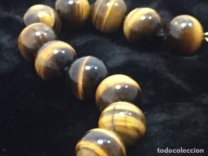 Joyeria: Collar de esferas de ojo de tigre nudos cierre roscado calidad buen estado 45 cms. abierto - Foto 2 - 136093262