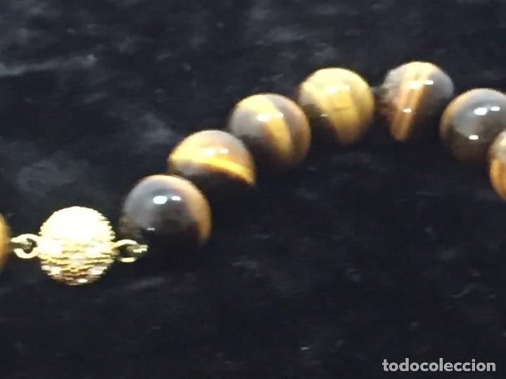 Joyeria: Collar de esferas de ojo de tigre nudos cierre roscado calidad buen estado 45 cms. abierto - Foto 6 - 136093262