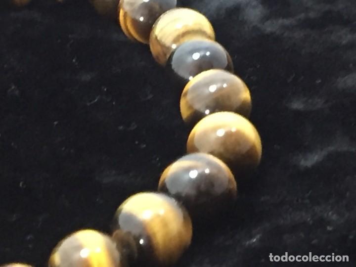Joyeria: Collar de esferas de ojo de tigre nudos cierre roscado calidad buen estado 45 cms. abierto - Foto 7 - 136093262