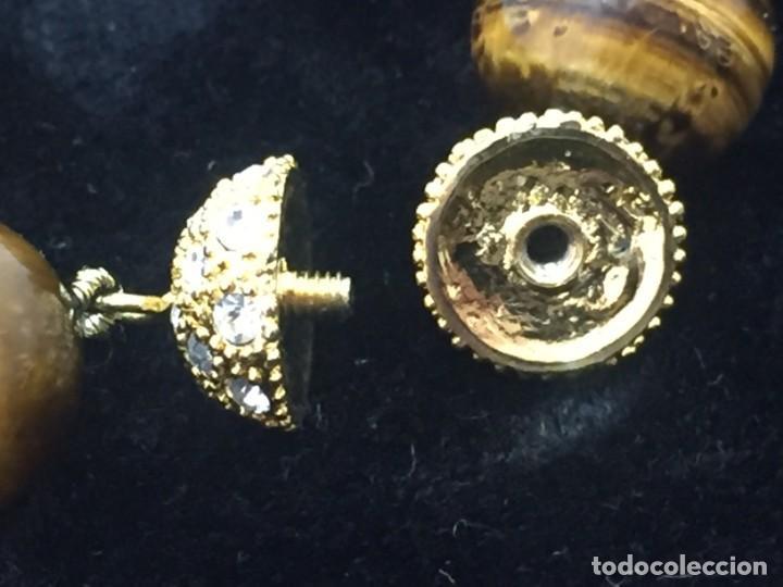 Joyeria: Collar de esferas de ojo de tigre nudos cierre roscado calidad buen estado 45 cms. abierto - Foto 9 - 136093262