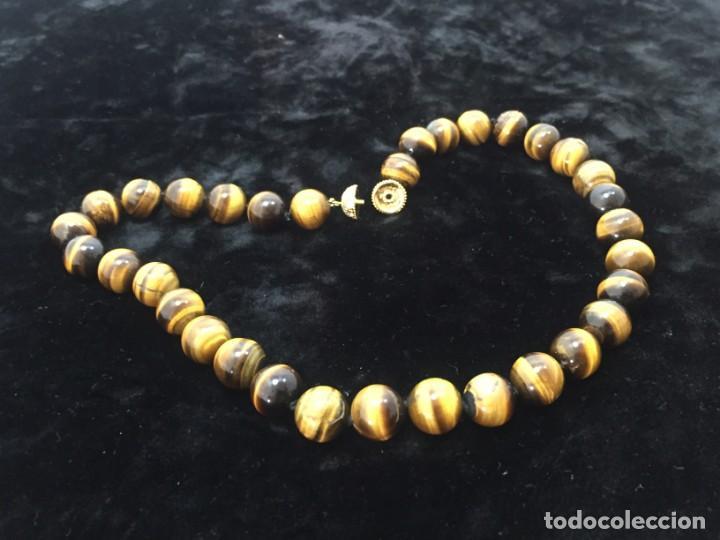 Joyeria: Collar de esferas de ojo de tigre nudos cierre roscado calidad buen estado 45 cms. abierto - Foto 10 - 136093262