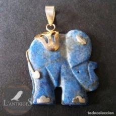 Schmuck - Colgante elefante de la suerte, tallado en piedra mineral lapislazuli - 136707166