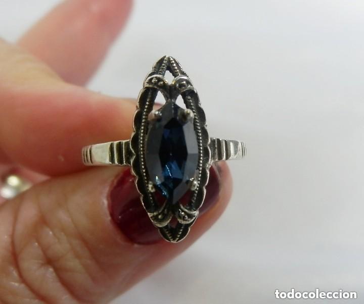 Joyeria: Precioso anillo antiguo en plata de Ley, anillo lanzadera. - Foto 2 - 137410386