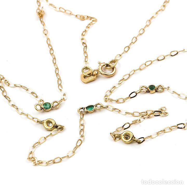 Joyeria: Collar Diamantes y Esmeraldas en Oro de Ley 18k - Foto 4 - 137797050