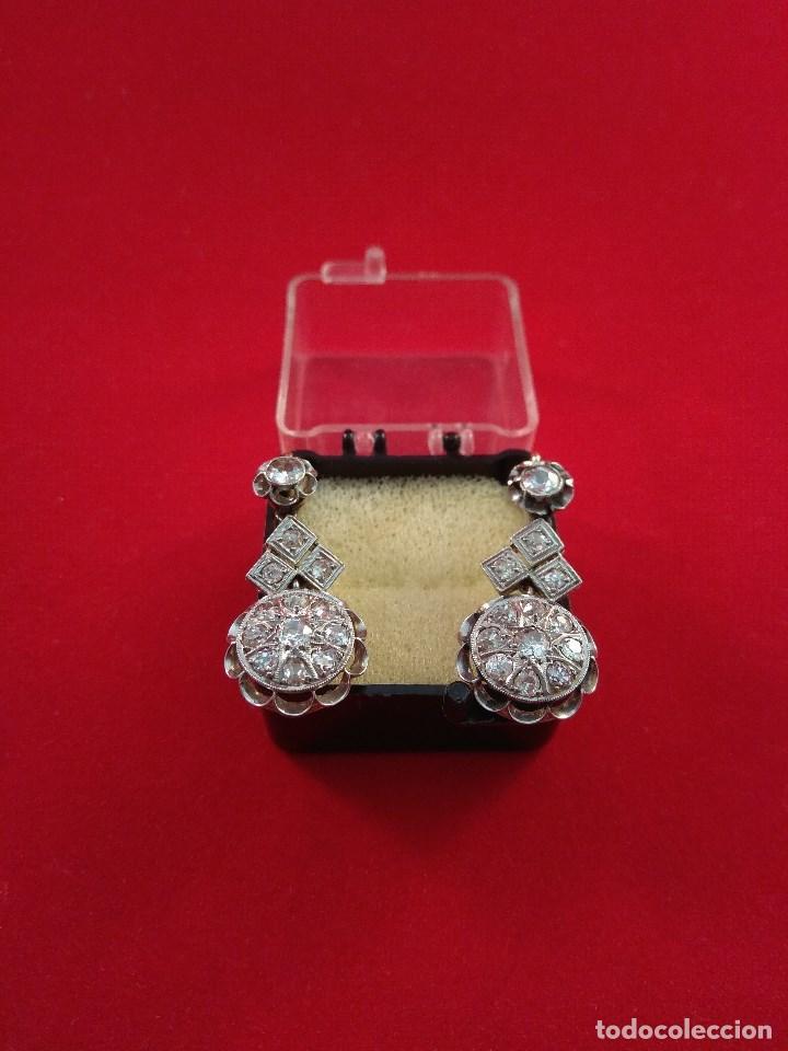 Joyeria: Oro 18k. y Diamantes. Antiguos Pendientes (Principios S.XX). - Foto 2 - 138611870