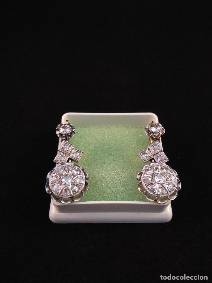 Joyeria: Oro 18k. y Diamantes. Antiguos Pendientes (Principios S.XX). - Foto 3 - 138611870