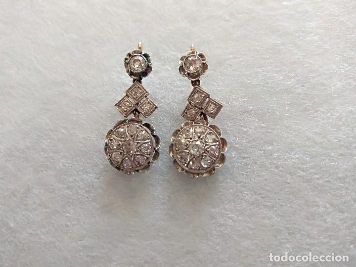 Joyeria: Oro 18k. y Diamantes. Antiguos Pendientes (Principios S.XX). - Foto 4 - 138611870