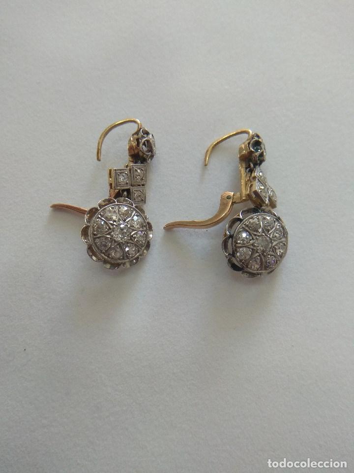 Joyeria: Oro 18k. y Diamantes. Antiguos Pendientes (Principios S.XX). - Foto 5 - 138611870