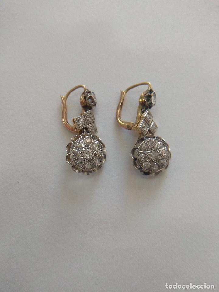 Joyeria: Oro 18k. y Diamantes. Antiguos Pendientes (Principios S.XX). - Foto 6 - 138611870