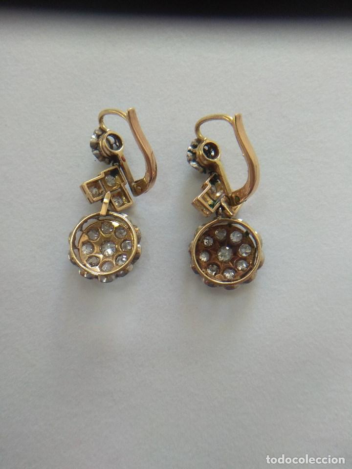 Joyeria: Oro 18k. y Diamantes. Antiguos Pendientes (Principios S.XX). - Foto 7 - 138611870