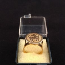 Joyeria: ORO 14 KILATES, ANTIGUO ANILLO CON FIGURA EN RELIEVE.. Lote 138613190
