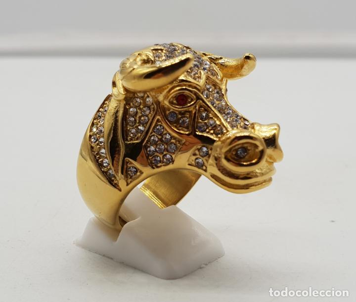 56c6e8e387cc gran anillo con cabeza de toro bravo chapado en - Comprar Anillos ...