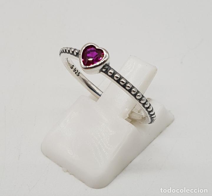 Joyeria: Sortija tipo compromiso en plata de ley contrastada y turmalina talla corazón incrustada . - Foto 2 - 138697034