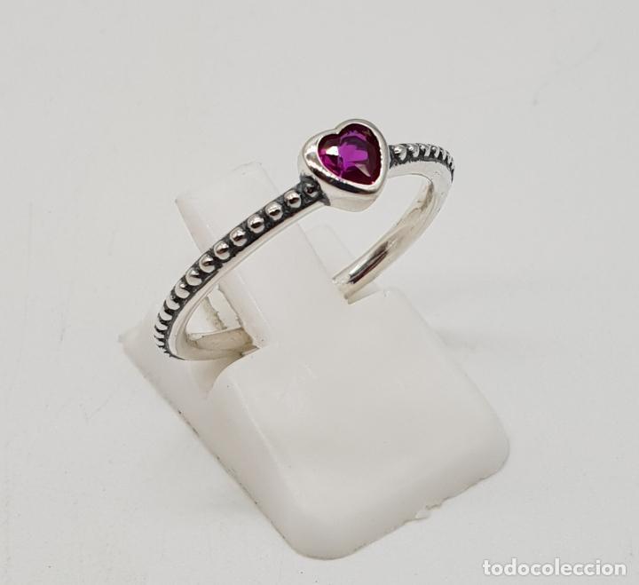 Joyeria: Sortija tipo compromiso en plata de ley contrastada y turmalina talla corazón incrustada . - Foto 4 - 138697034