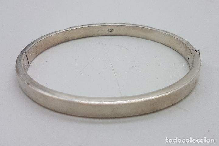 Joyeria: Brazalete antiguo en plata de ley contrastada, con aplicaciones de nacar y jaspe autentico . - Foto 5 - 138705806