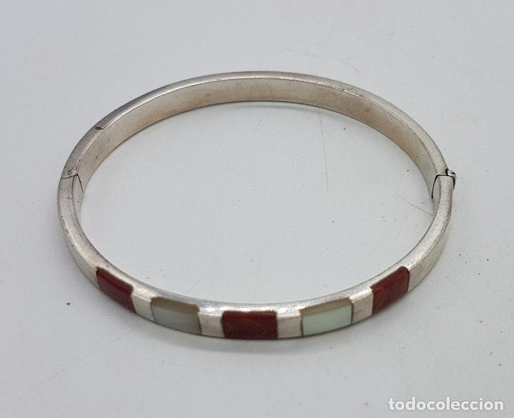 Joyeria: Brazalete antiguo en plata de ley contrastada, con aplicaciones de nacar y jaspe autentico . - Foto 6 - 138705806