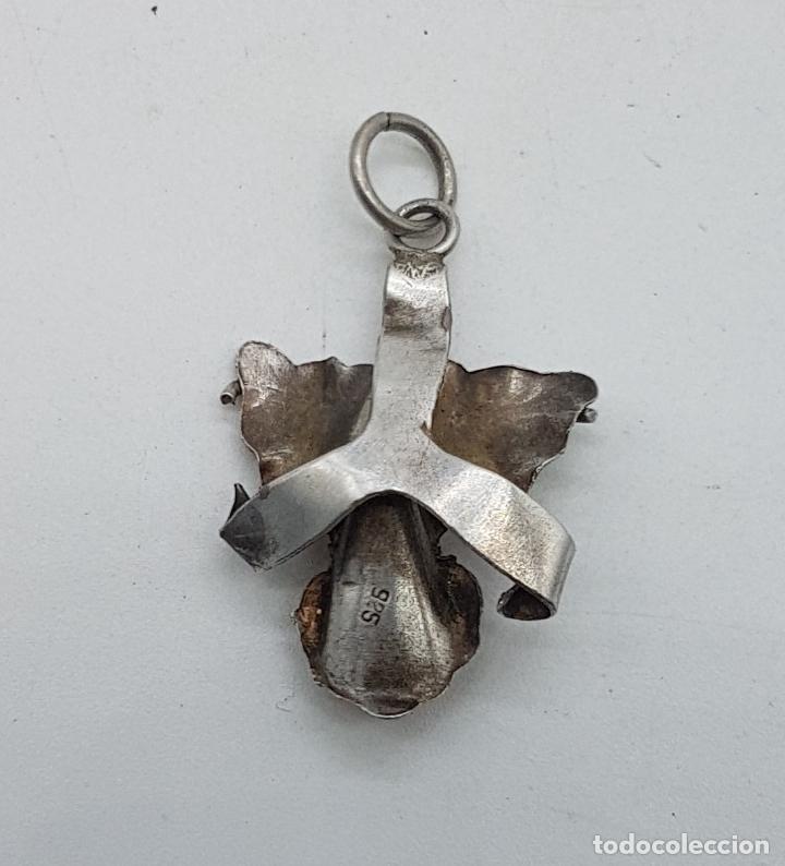 Joyeria: Colgante antiguo con forma de orquidea en plata de ley y esmalte rosa palo, con punzón . - Foto 3 - 138911174