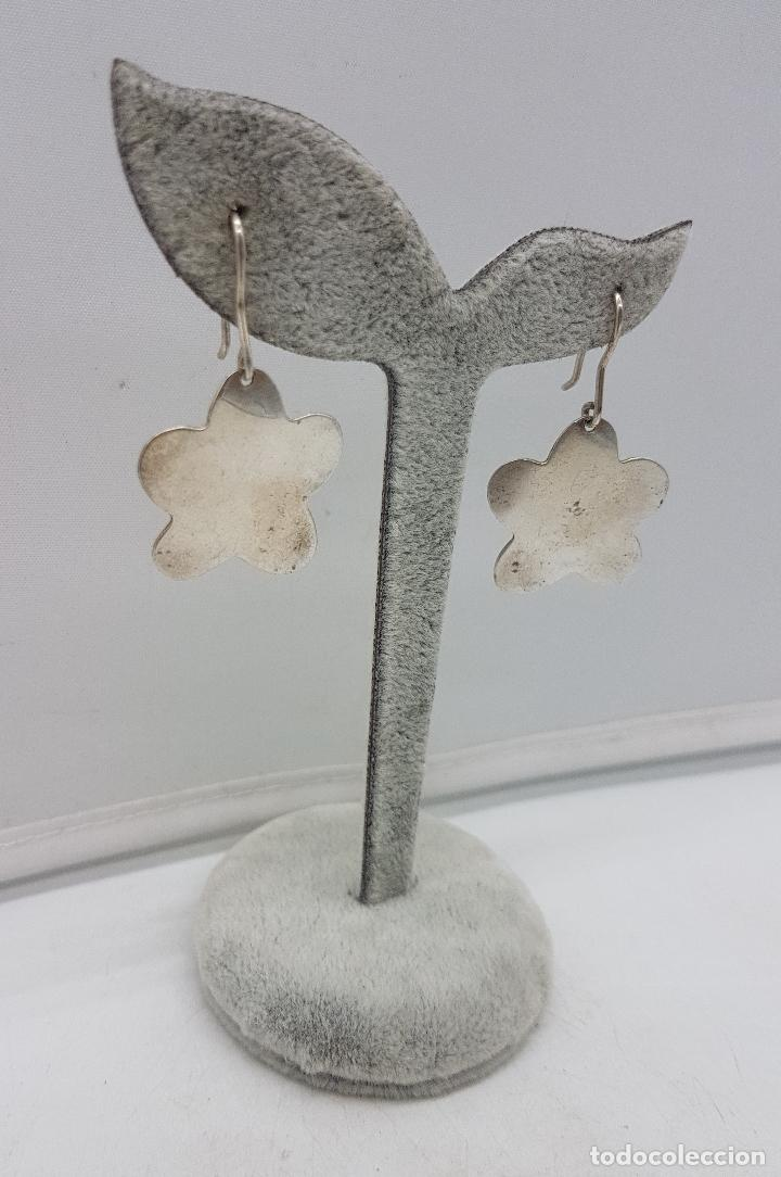 Joyeria: Pendientes vintage en forma de flor de plata de ley . - Foto 3 - 138912050